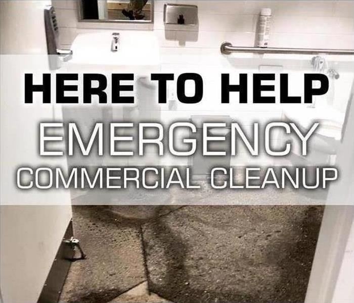 Sewage backup in commercial bathroom, Here to Help Emergency Commercial Cleanup